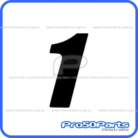 "(PW50) - Racing Number ""1"" Sticker Decal (Black, ""1"", 75mm Height)"