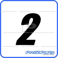 "(PW50) - Racing Number ""2"" Sticker Decal (Black, ""2"", 75mm Height)"