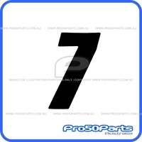 "(PW50) - Racing Number ""7"" Sticker Decal (Black, ""7"", 75mm Height)"