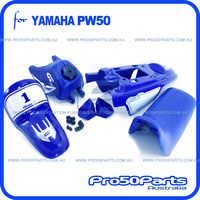 (PW50) - Package of Plastics Fender Cover, Fuel Tank, Seat (All Blue) + Decal (GTMOTOR) + Bolt Kit