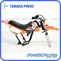 (PW50) - Package of Plastics Fender Cover (Orange), Fuel Tank (Black), Seat (Black) + Decal (Pro50 Orange) + Bolt