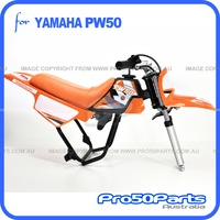 (PW50) - Package of Plastics Fender Cover (Orange), Fuel Tank (Black), Seat (Orange) + Decal (Pro50 Orange) + Bolt