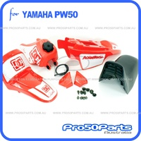 (PW50) - Package of Plastics Fender Cover (Red), Fuel Tank (Red), Seat (Black) + Decal (DC) + Bolt