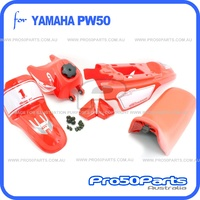 (PW50) - Package of Plastics Fender Cover, Fuel Tank, Seat (All Red) + Decal (GTMOTOR) + Bolt
