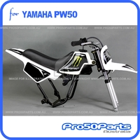 (PW50) - Package of Plastics Fender Cover (White + Black), Fuel Tank (White), Seat (Black) + FREEBIES (Fender Bolt, Spark Plug, Monster Style Decal)