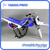 (PW50) - Package of Plastics Fender Cover (White & Blue), Fuel Tank (Blue), Seat (Blue) + FREEBIES (Fender Bolt, Rockstar Decal)
