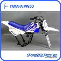 (PW50) - Package of Plastics Fender Cover (White & Blue), Fuel Tank (White), Seat (Blue) + FREEBIES (Fender Bolt, Spark Plug, GT Blue Decal)