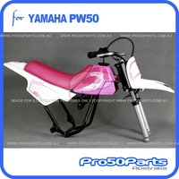 (PW50) - Package of Plastics Fender Cover (White & Pink), Fuel Tank (Pink), Seat (Pink) + FREEBIES (Fender Bolt, Spark Plug, GT Pink Decal)