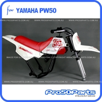 (PW50) - Package of Plastics Fender Cover (White & Red), Fuel Tank (White), Seat (Red) + FREEBIES (Fender Bolt, Spark Plug, DC Decal)