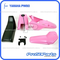 (PW80) - Package of Plastics Fender Cover, Fuel Tank, (Pink) and Seat (Black)