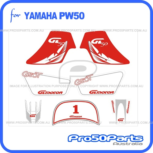 (PW50) - Sticker Decal Graphics Set A (Red)