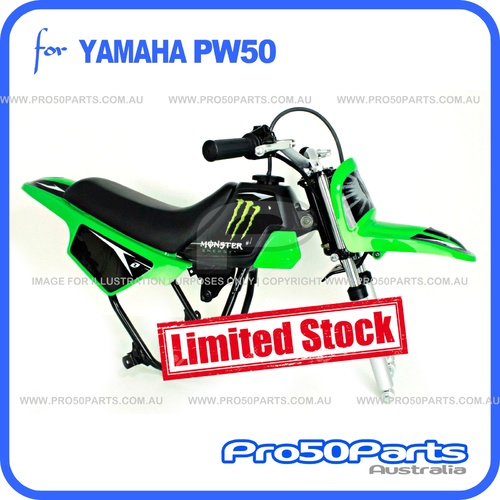 (PW50) - Package of Plastics Fender Cover (Green), Fuel Tank (Black), Seat (Black) + Decal (Monster Energy) + Bolt