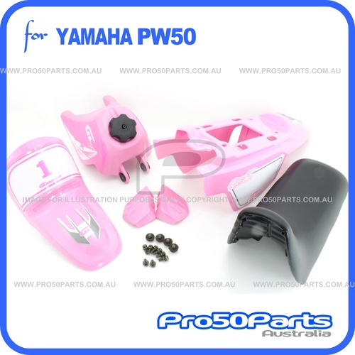 (PW50) - Package of Plastics Fender Cover (Pink), Fuel Tank (Pink), Seat (Black) + Decal (GTMOTOR) + Bolt