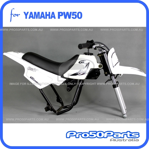 (PW50) - Package of Plastics Fender Cover (White + Black), Fuel Tank (White), Seat (Black) + FREEBIES (Fender Bolt, GT Black Style Decal)