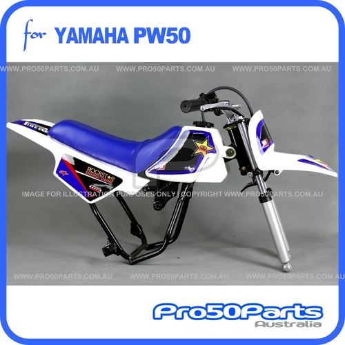 (PW50) - Package of Plastics Fender Cover (White), Fuel Tank (White), Seat (Blue) + FREEBIES (Fender Bolt, Spark Plug, Rockstar Decal)