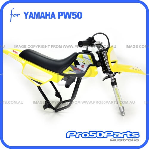 (PW50) - Package of Plastics Fender Cover (Yellow), Fuel Tank (Black), Seat (Black) + Decal (Pro50 Yellow) + Bolt
