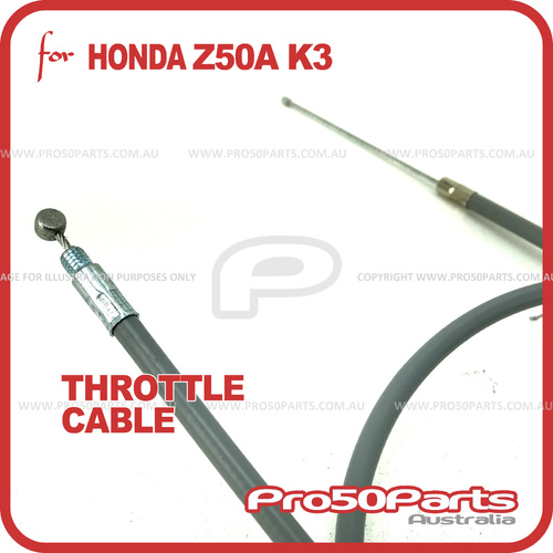 (Z50A K3) Throttle Cable (Reproduction Cable, Grey colour)